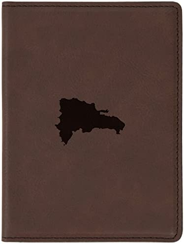 Dominican Republic Brown Leather Passport Holder Laser Etched Design 4 X 5 5 Engraved Passport product image