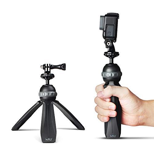 HSU Mini-Tischstativ mit Handgriff Kompatibel für GoPro-Sportkameras oder Kompaktsystemkameras