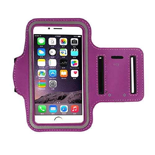 Deportes al Aire Libre Brazalete de teléfono móvil 5-7 Pulgadas Teléfono móvil Brazalete Gimnasio Correr Transporte de teléfono móvil Cubierta de Brazalete-Purple,M