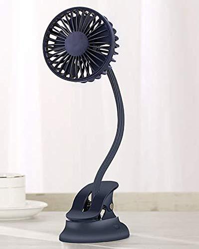 yumcute Ventilador de mesa portátil USB con clip para cochecito de bebé, ventilador de mesa con 3 ajustes de velocidad, flexible, mini ventilador de mesa USB, color azul oscuro