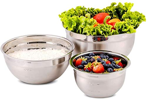 Ovente Stainless Steel Kitchen Mixing Bowl Set with Lid, 3 Nesting Stackable Bowls with Measuring Marks Dishwasher Safe Easy to Clean & Storage, Perfect for Cooking Baking Serving, Silver