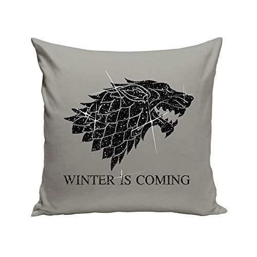 shirtdepartment 40x40cm Dekokissen mit Füllung Game of Thrones Schattenwolf (grau-schwarzglitzer)