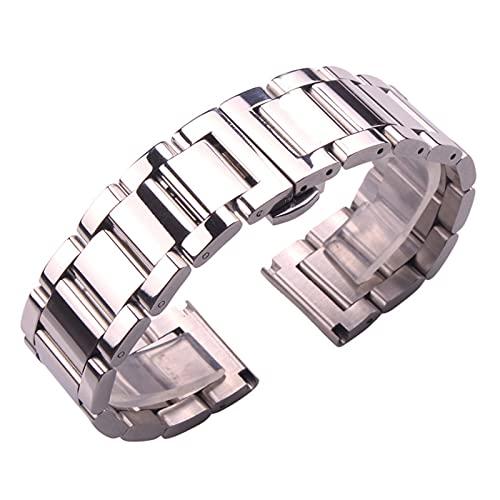YANYAN MAYALI Pulseras de Correa de Reloj de Acero Inoxidable Hombres Metal DE Plata 18 20 21 23 23 24mm Moda Mujeres Relojes Accesorios (Band Color : Polished, Band Width : 24mm)