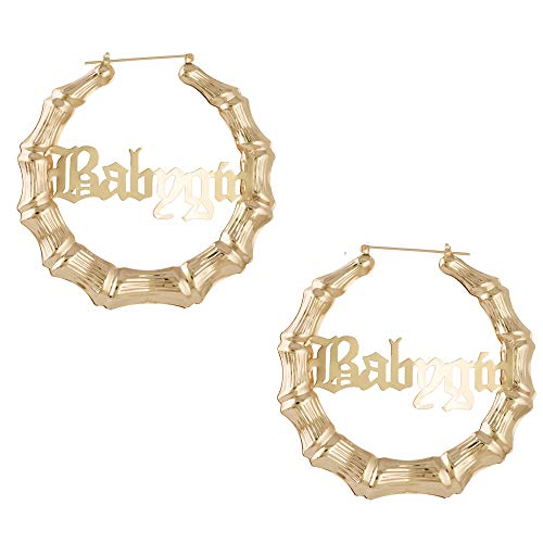 Old English Font Babygirl Word 9cm elegant Large Bamboo Earrings Hip-Pop Style Fashion Party Accessory (gold)