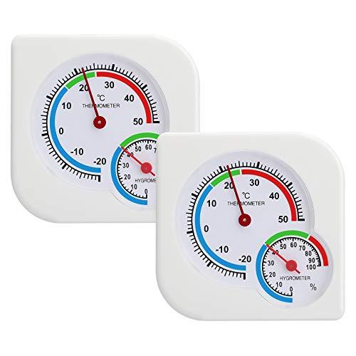 EEEKit 2er-Pack Indoor Outdoor Hygrometer-Thermometer, dekorative präzise Temperatur-Luftfeuchtigkeit für Zigarre/Reptilien-Inkubator/Gewächshaus/Babyzimmer