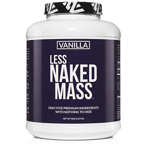 Vanilla Less Naked Mass - All Natural Weight Gainer Protein Powder - 8lb Bulk, GMO Free, Gluten Free & Soy Free. No Artificial Ingredients - 1,260 Calories - 11 Servings
