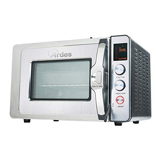 Ardes AR6430PR Forno a Pressione CARLOMAGNO 30 Litri in Acciaio Inox, 2 in 1 Statico e Pressione, Girarrosto, Display LED, 9 Programmi di Cottura, Timer, Accessori, 1500 W