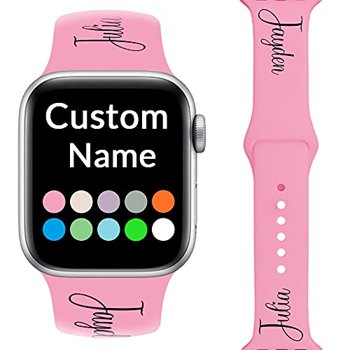 Custom Name Bands Compatible with Apple Watch 38mm 40sm 42mm 44sm,Personalized Gifts Soft Silicone Sport Replacement Band for iWatch Series 6 5 4 3 2 1