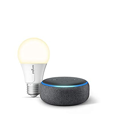 Echo Dot (3rd Gen) Charcoal Bundle with Sengled Wi-Fi Smart Bulb by