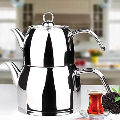 Turkish Teapot Set Stainless Steel 2.7 lt. Tea Pot Medium Size Caydanlik with FREE set of 3 Glass Bowl