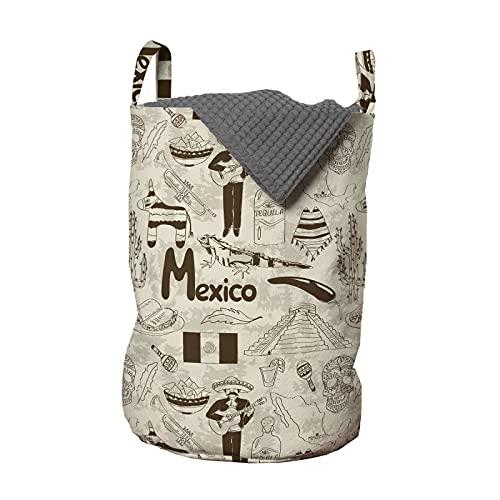 ABAKUHAUS México Bolsa de lavandería, Boceto Cultural patrón Elemento, Cesta con asas Cierre de cordón para las lavanderías, 33 x 33 x 49 cm, champán chocolate