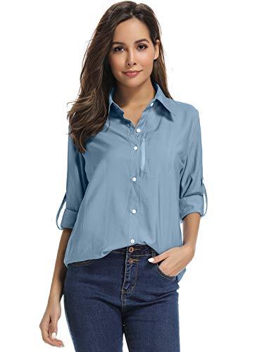 mosingle Damen-Hemd mit LSF 50+, UV-Schutz, Safari-Shirt, langärmelig, kühl, schnelltrocknend, Angeln, Wandern, Gartenarbeit XL blau