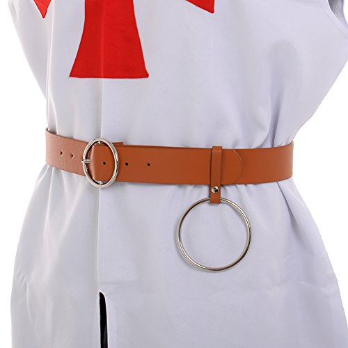 BLESSUME Medieval Buckle Belt Punk LARP Reenactment Belt (Brown)