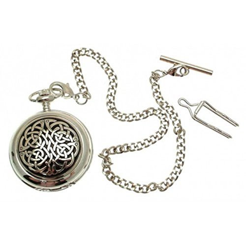 Engraving included - Solid Pewter fronted mechanical skeleton pocket watch - Celtic knot design