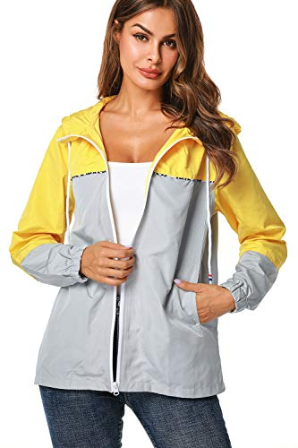 UUANG Damen Regenjacke leicht wasserdicht verstaubar Mädchen Regenmantel Outdoor Colorblock Windbreaker für Reisen, Radfahren, Wandern, Damen, gelb / grau, X-Large