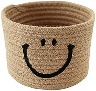 Lpiotyucwh Paniers et Boîtes De Rangement, Basket de rangement rond Débris de coton respectueux du coton tissé de bureaux ...