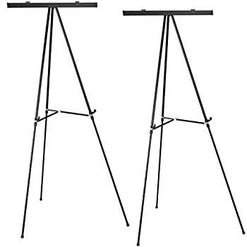 Aluminum Flip-Chart Presentation Easel  2-Pack with Telescoping Legs 70 Inches  Black