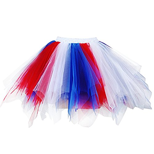 Ellames Women's Vintage 1950s Tutu Petticoat Ballet Bubble Dance Skirt Royal Blue, White, Red S/M