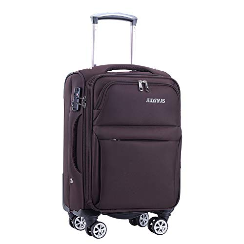 JELLYSTARS Updated 20 inch Softside Spinner Luggage with Wheels Carry-on Boarding Travel Suit Cases Smart Suitcases Buit-In TSA Lock Soft Tourist Bagage for Women Men Coffee Color