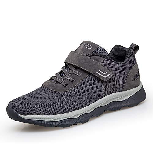 [ZUBOK] スニーカー メンズ レディース 介護シューズ 高齢者シューズ 安全靴 マジックテープ 外反母趾 通気性 柔軟性 メッシュ 中高齢者靴 (26.5cm, ダークグレー)