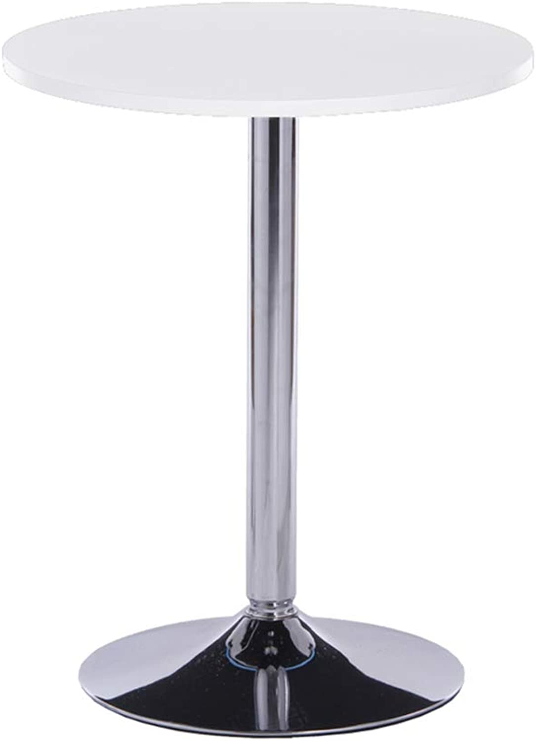 Simple and Stylish Side Table Pub Lift Round high bar Table,White,50  110cm