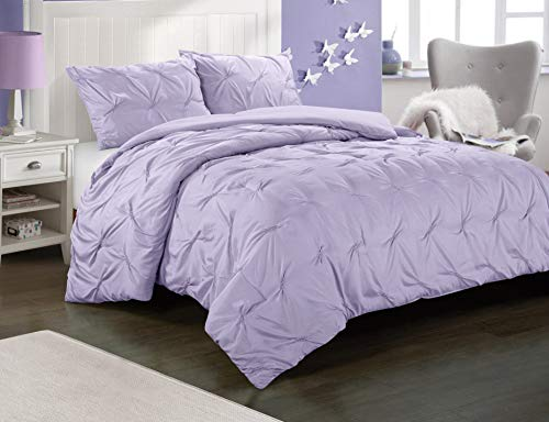 Heritage Club Ultra Soft – Sierra – Hypoallergenic – for Boys and Girls – All Season Breathable 3 Piece Kids and Teen Solid Pintuck Comforter Set – Alternative Microfiber –, Full, Purple