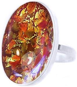 Gustav Klimt Colección, Ópalo De Fuego, En Oro Rojo De Blue Flare, De La Plata Esterlina 925 Ovalada Anillo Clásico, Tamaño Ajustable, Hecha A Mano BohemStyle