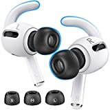Reakt Memory Foam Tips and Ear Hooks Accessories for Apple AirPods Pro (S, M, L Buds, White Hooks)