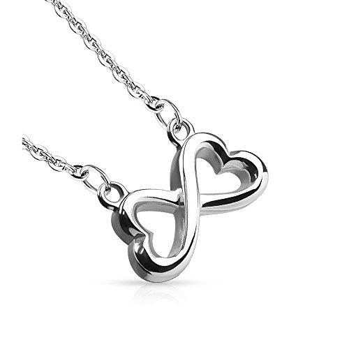 Bungsa® silber Edelstahl Halskette Infinity Unendlichkeitszeichen Symbol Anhänger Kettenanhänger Pendant Damen (Kettenanhänger Pendant Anhänger Charm Beads Chirurgenstahl Damen Herren Schmuck)