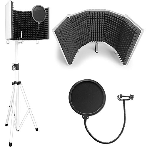 """AxcessAbles SF-101KIT-W Recording Studio Microphone Isolation Shield with Tripod Stand (White) 4' to 6' 6"""" Height Adjustable Stand Compatible w/Blue Yeti, AT2020, AKG, Rode Microphones"""