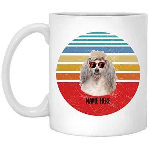 N\A Divertido Perro con Cresta Chino Gafas Crema Sunset Retro Personalizado Nombre Taza de café Blanca 11 oz