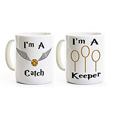 I'm a Catch - I'm a Keeper Mugs - His and Her Wedding Engagement Anniversary Gift - Personalized
