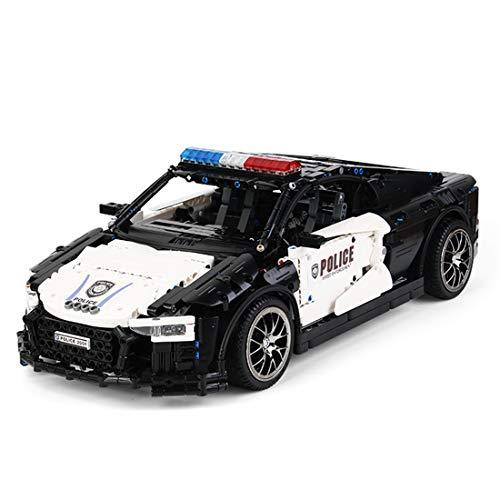 Elroy369Lion Simulation Schwarz Weiß Super Racing Polizeiwagen Fahrzeug Ziegel Modell DIY Baustein Montage Kleine...
