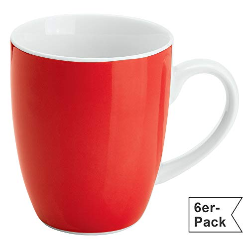 Gepolana Kaffeetassen, Kaffeebecher für 6 Personen, Serie Roma, 6er-Pack rot Größe 350 ml, 10 cm Höhe - spülmaschinenfest, mikrowellengeeignet