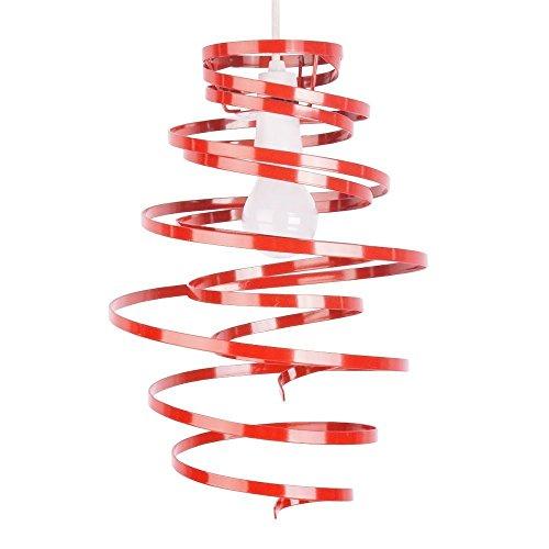 MiniSun - Paralume moderno, spirale e contemporaneo, di metallo con finitura di colore rosso lucido nello stile di due nastri - per lampada a sospensione