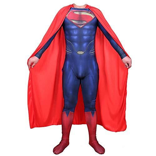 Traje de Superman Vestido, Clark Kent Cosplay Ropa, Superhéroe Batalla Traje, Adulto Children Película rol Ropa Body, Zentai,B~Male-S