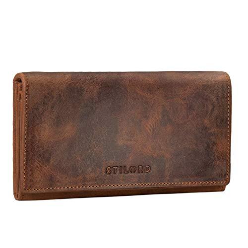 STILORD 'Marquesa' Leder Geldbörse Damen RFID Schutz NFC Portmonnaie Damen Vintage Geldbeutel Groß Quer mit Ausleseschutz in Geschenkbox Echtleder, Farbe:aneto-braun