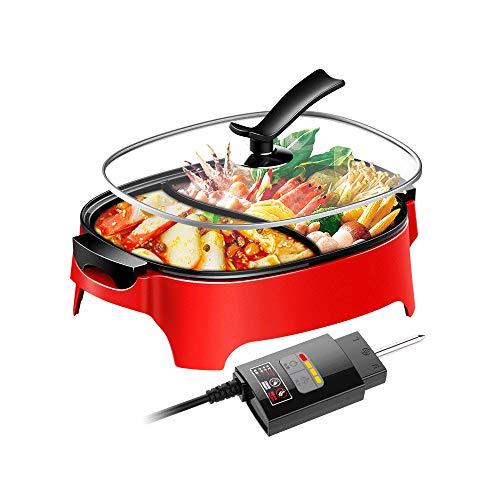 Z-Color Barbacoa eléctrica/Rojo Fuego Una Pot Dos sabores Inicio Multi-función Antiadherente Cocina eléctrica de 2100 vatios