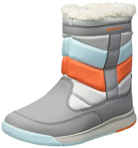 Merrell Alpine Puffer Boot WTRPF, Zapatillas para Caminar Unisex Niños, Gris Grey Silver Turq, 33 EU