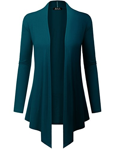 Because I Love You Women's Open Front Drape Hem Lightweight Cardigan - XXX-Large - Teal