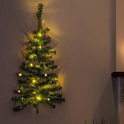 GloBrite LED Wall Christmas Tree - Mini Xmas Trees 20 LED Battery Powered Lights - 90cm Tall