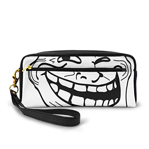 Pencil Case Pen Bag Pouch Stationary,Cartoon Style Troll Face Guy for Annoying Popular Artful Internet Meme Design,Small Makeup Bag Coin Purse