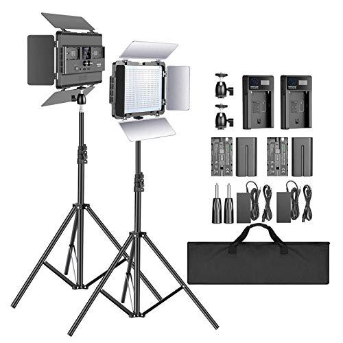 Neewer 2-Pack 2,4G LED Luz Video con Soporte de 2M Bicolor 600 SMD CRI 94 + Soporte en U Barndoor Pantalla LCD Kit Iluminación de Video con Carcasa Metal para Fotografía Estudio