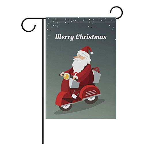Johnnie Welcome Garden Flag 12 X 18 Inches, Double Sided Seasonal Outdoor Flag and Best for Party Yard Home Decor, Santa Driving Scooter Printed Design