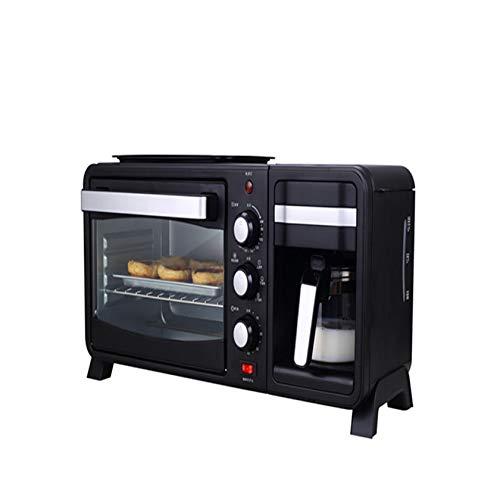 BLLXMX Máquina para Hacer Desayuno 3 En 1, Máquina De Café, Mini Horno Tostador Multifuncional con Temporizador, Plancha Antiadherente Y Fácil De Limpiar