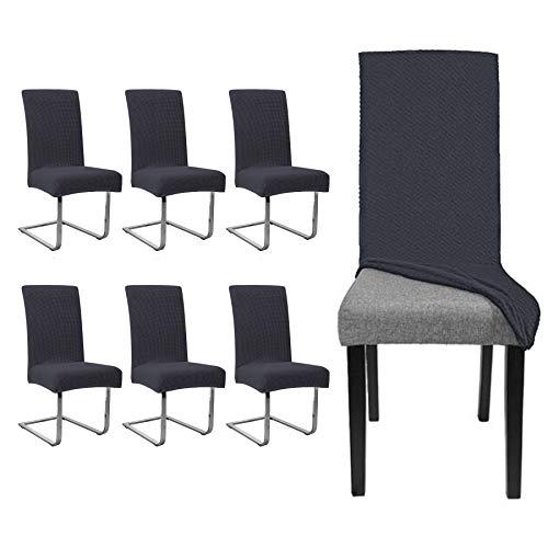 EINFEBEN 6 stück Elastische Stuhlhusse|Universal Wasserdicht Stuhl Husse |Moderne Langlebig Stuhl Schutzhülle Abnehmbare|Bi-Elastic Spannbezug für Schwingstühle Und Esszimmerstühle etc.(Anthrazit)