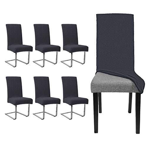 Hengda 6 stück Elastische Stuhlhusse|Universal Wasserdicht Stuhl Husse |Moderne Langlebig Stuhl Schutzhülle Abnehmbare|Bi-Elastic Spannbezug für Schwingstühle Und Esszimmerstühle etc.(Anthrazit)