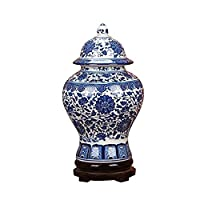 花瓶 花器 インテリアボトル瓶 フラワーベース クラシック青と白の磁器の花寺ジンジャージャー花瓶、景徳鎮のメイド、中国風の高さ15インチ