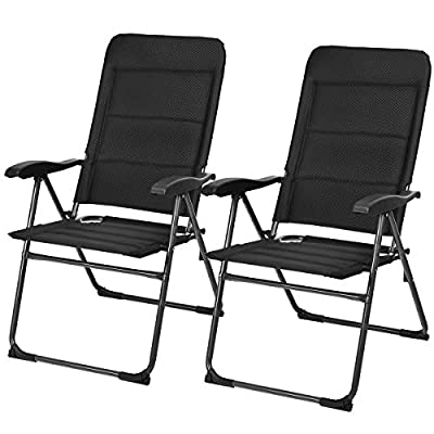 Giantex Set of 2 Patio Chairs, Folding Chairs with Adjustable Backrest, Outdoor Sling Chairs for Bistro, Deck, Backyard, Armchair with Padded Seat, 300 lbs Capacity (2, Black)
