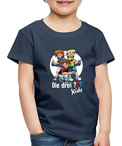 Die DREI Fragezeichen Kids Justus, Peter, Bob Team Kinder Premium T-Shirt, 122-128, Navy